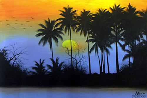 Oriental Paintings Jungle Silhouette