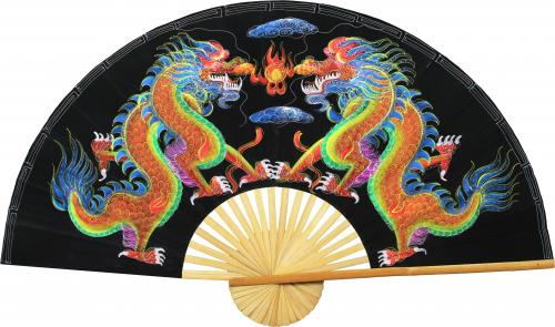 Velvet Painting Wall Fans Velvet Black Dragons
