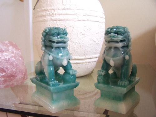Resin Statues Jade Color Foo Dogs Medium Size