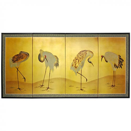 Chinese Silk Paintings Gold Leaf Cranes