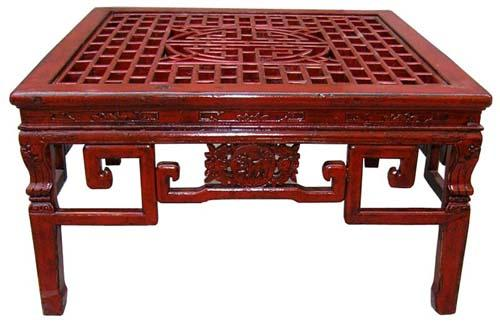 low cypress table red finish asian style furniture