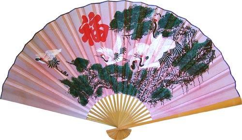 Asian Wall Fans Pink Cranes