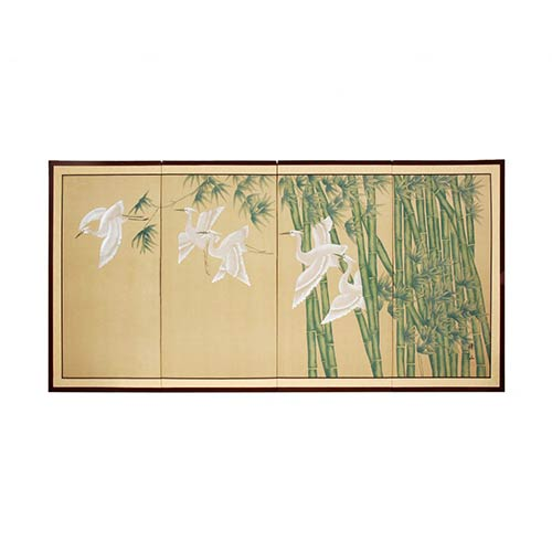 Japanese Silk Paintings Bamboo Escape