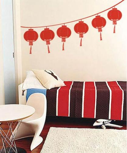 asian art wall stickers chinese festival lantern wall decal