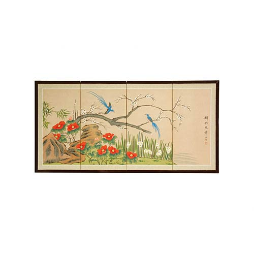 Japanese Silk Paintings Birds And Flowers Are One
