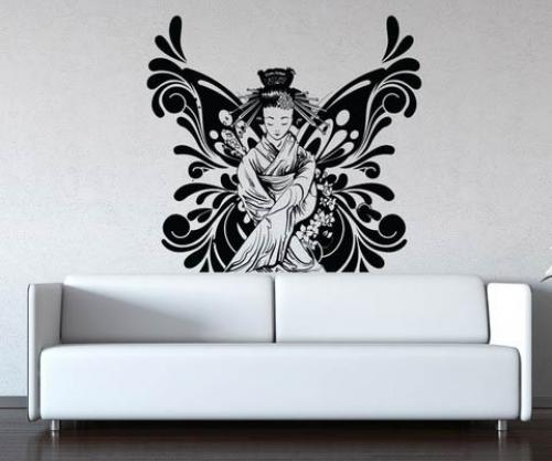 Asian Art Wall Stickers Butterfly Geisha Wall Decal