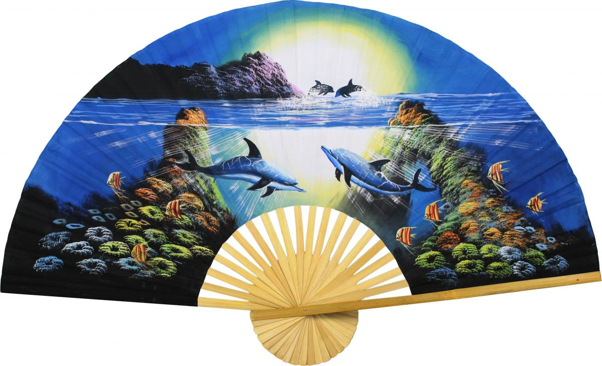 Decorative Wall Fans : Decorative wall fans striking dolphins
