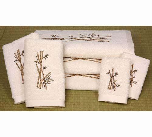 Asian bath accessories white bamboo theme 7 piece bath set - Asian themed bathroom accessories ...