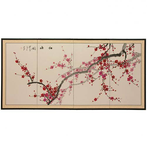 Japanese Silk Paintings Spring Blossoms