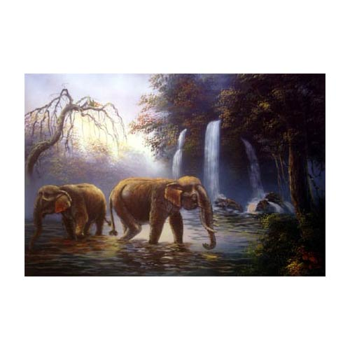 River Elephants :: Oriental Paintings