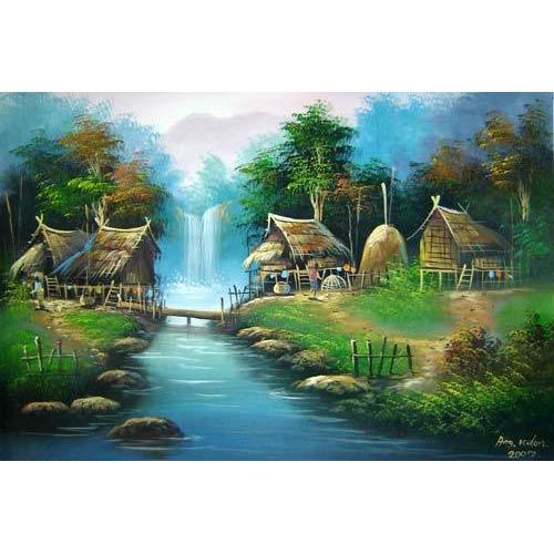 Oriental Village :: Oriental Paintings