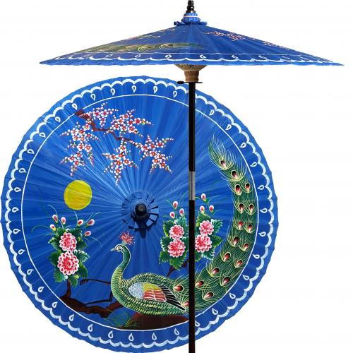 Victory of the Peacock (China Sea Blue) :: Outdoor Patio Umbrellas