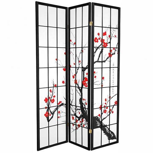Japanese Cherry Blossom (Black Finish) :: Japanese Shoji Screens