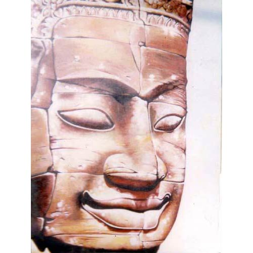 Smiling Stone Buddha Head Painting :: Buddha Paintings