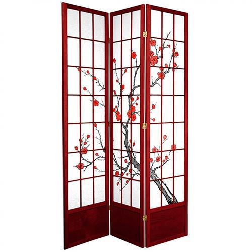 "84"" Japanese Cherry Blossom Screen (Rosewood Finish)"