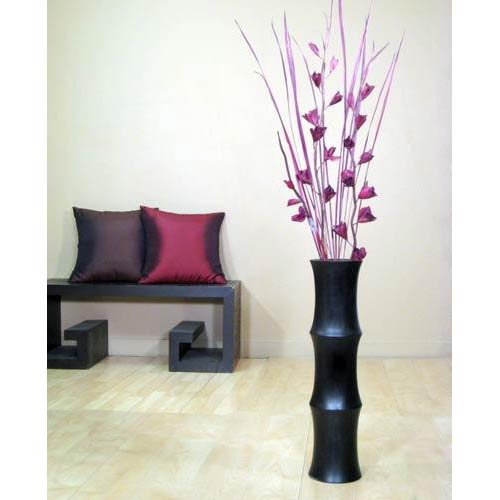 "27"" Black Mangowood Scalloped Floor Vase"