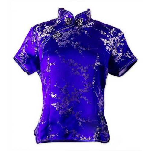 Royal Blue Cherry Blossom Blouse: : Chinese Blouses