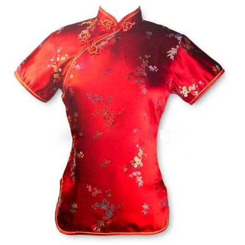 Red Sakura Blouse: : Chinese Blouses
