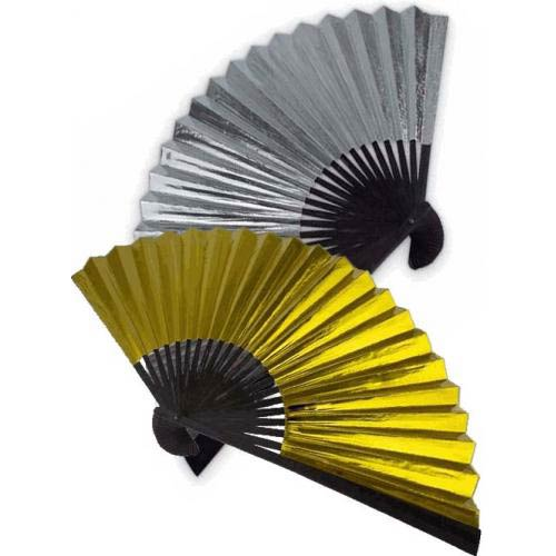 Gold and Silver Foil Hand Fan