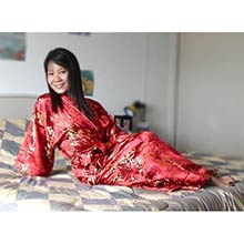 Red Bamboo Kimono Robe