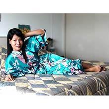Turquoise Peacock Kimono Robe