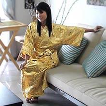 Gold Bamboo Kimono Robe