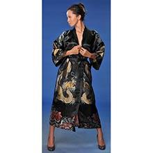 Black Flowing Dragon Kimono Robe
