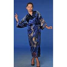 Blue Flowing Dragon Kimono Robe