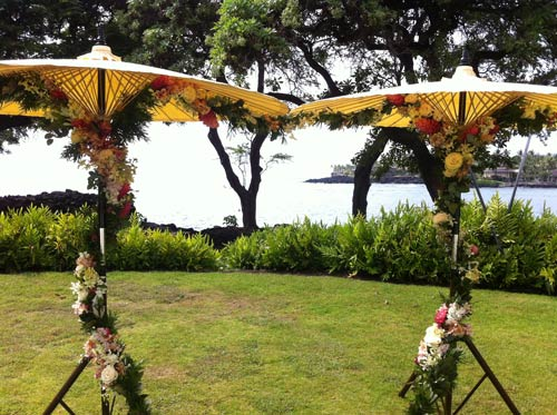 Customer image of handmade patio umbrellas at her wedding.