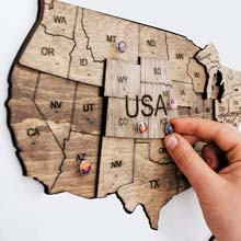 Wooden USA Maps