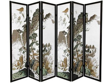 Six panel shoji screen with a landscape design