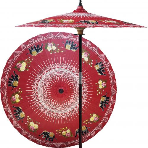 Pool Deck Umbrella Asian Elephants (Dragon Red) :: Outdoor Patio Umbrellas