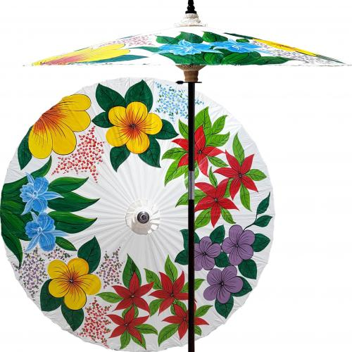 Garden Umbrella Eastern Bouquet (Beijing White) :: Outdoor Patio Umbrellas