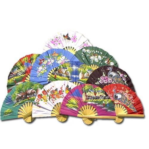 10 Hand Fan Party Pack (Assorted Colors) :: Asian Hand Fans