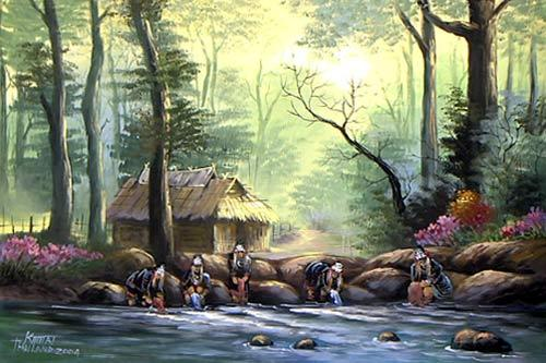 Akha Hill Tribe :: Oriental Paintings