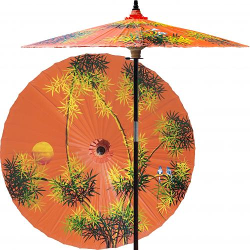 Yard Umbrella Bamboo Forest (Passionfruit Orange) :: Outdoor Patio Umbrellas