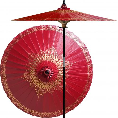 Patterned Patio Umbrella Siamese Dream (Oxblood Red) :: Outdoor Patio Umbrellas