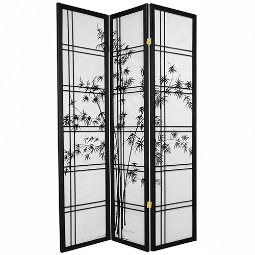 Bamboo Sunrise Japanese Shoji Screen (Black Finish) :: Japanese Shoji Screens