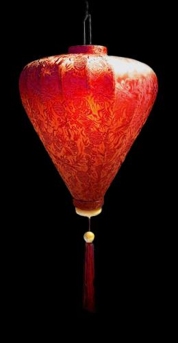 Wealth Lantern - Red :: Silk Lanterns