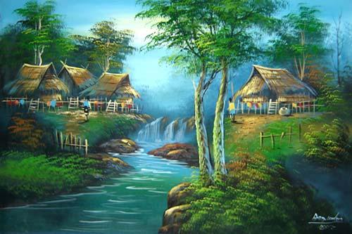 Oriental Paintings Verdant Village
