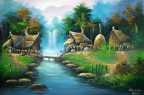 Oriental Paintings The Log Bridge