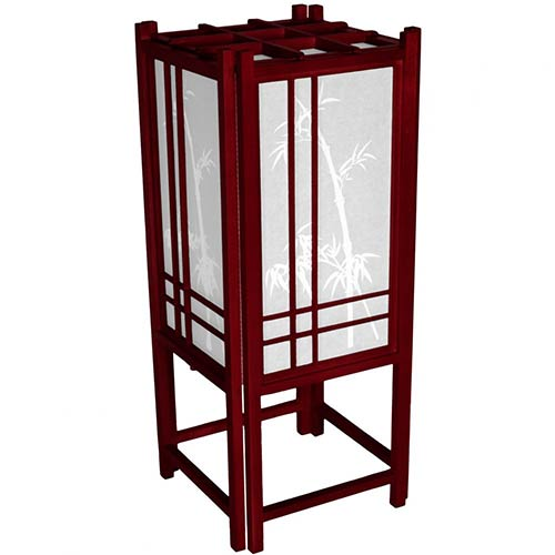 Bamboo Chinese Lamp Rosewood Finish