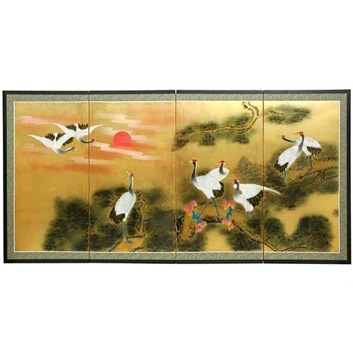 Chinese Silk Paintings Cranes At Sunset