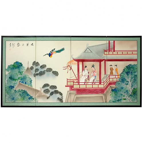 Imperial Palace of the Emperor :: Japanese Silk Paintings
