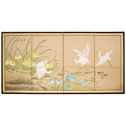 White Cranes Silk Painting :: Japanese Silk Paintings