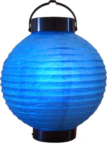 "8"" Blue Glowing Lantern :: Glowing Asian Lanterns"