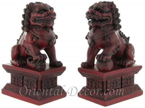 Burgundy Color Foo Dogs (Medium Size) :: Resin Statues