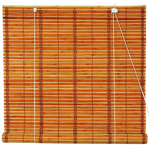 Burnt Bamboo Roll Up Blinds - Two-tone Honey :: Window Blinds