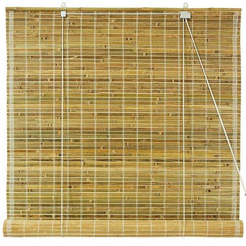 Burnt Bamboo Roll Up Blinds - Natural :: Window Blinds