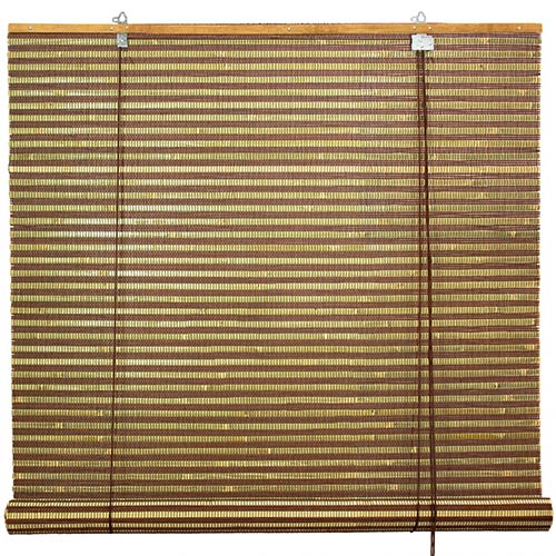 Burnt Bamboo Roll Up Blinds - Multi-color Weave :: Window Blinds